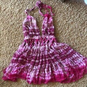 ASOS Pink Tie-Dye Backless Halter Swim Coverup